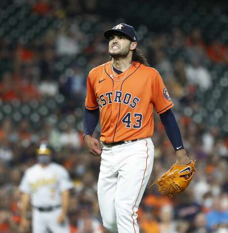 Houston Astros starting pitcher Lance McCullers Jr. (43) reacts after Oakland Athletics Ramon Laureano struck out to end the third inning of an MLB baseball game at Minute Maid Park, in Houston, Friday, April 9, 2021. Photo: Karen Warren/Staff Photographer / @2021 Houston Chronicle