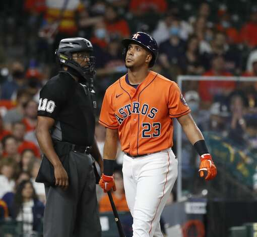 Houston Astros Michael Brantley (23) reacts after striking out during the third inning of an MLB baseball game at Minute Maid Park, in Houston, Friday, April 9, 2021. Photo: Karen Warren/Staff Photographer / @2021 Houston Chronicle