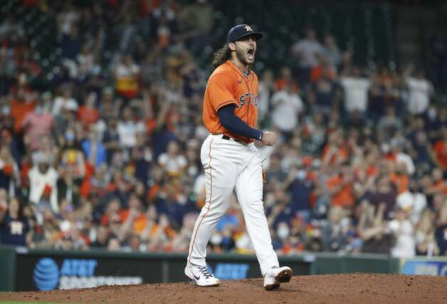 Houston Astros starting pitcher Lance McCullers Jr. (43) screams after striking out Oakland Athletics catcher Aramis Garcia to get out of the fourth inning of an MLB baseball game at Minute Maid Park, in Houston, Friday, April 9, 2021. Photo: Karen Warren/Staff Photographer / @2021 Houston Chronicle