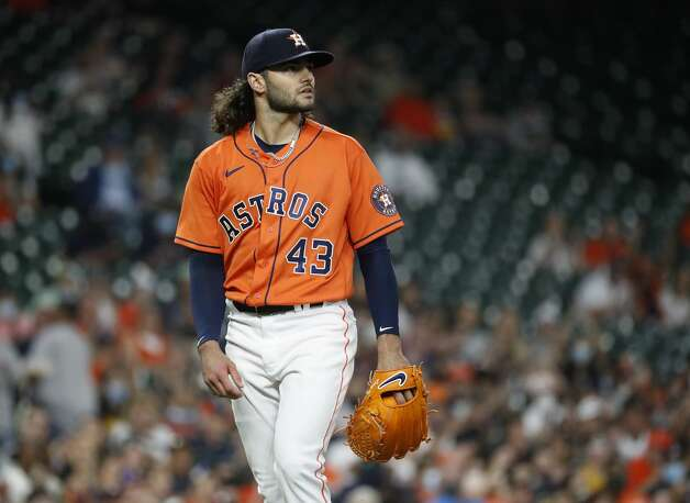 Houston Astros starting pitcher Lance McCullers Jr. (43) walks to the dugout after pitching during the second inning of an MLB baseball game at Minute Maid Park, in Houston, Friday, April 9, 2021. Photo: Karen Warren/Staff Photographer / @2021 Houston Chronicle