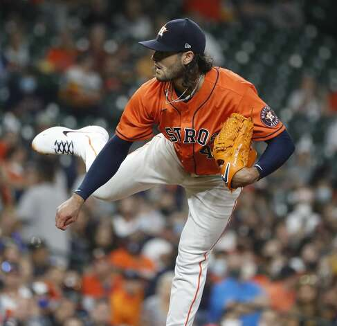 Houston Astros starting pitcher Lance McCullers Jr. (43) pitches during the second inning of an MLB baseball game at Minute Maid Park, in Houston, Friday, April 9, 2021. Photo: Karen Warren/Staff Photographer / @2021 Houston Chronicle