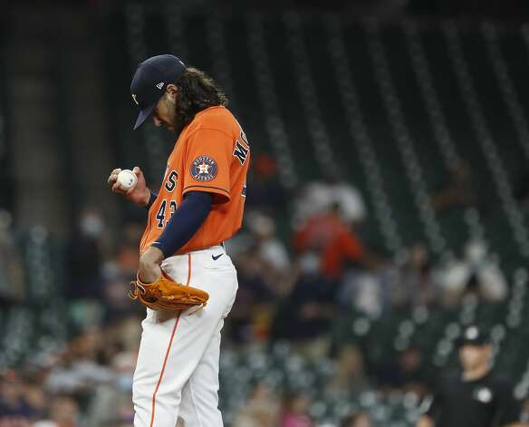 Houston Astros starting pitcher Lance McCullers Jr. (43) prepares to pitch during the first inning of an MLB baseball game at Minute Maid Park, in Houston, Friday, April 9, 2021. Photo: Karen Warren/Staff Photographer / @2021 Houston Chronicle