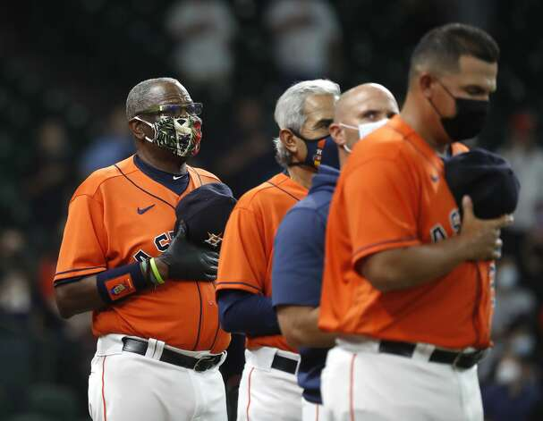 Houston Astros manager Dusty Baker Jr. during the National Anthem before the start of the first inning of an MLB baseball game at Minute Maid Park, in Houston, Friday, April 9, 2021. Photo: Karen Warren/Staff Photographer / @2021 Houston Chronicle
