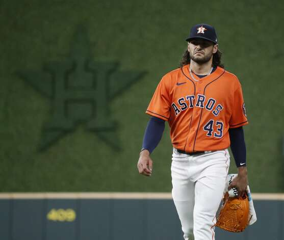 Houston Astros starting pitcher Lance McCullers Jr. (43) walks to the dugout from the bullpen before the start of the first inning of an MLB baseball game at Minute Maid Park, in Houston, Friday, April 9, 2021. Photo: Karen Warren/Staff Photographer / @2021 Houston Chronicle