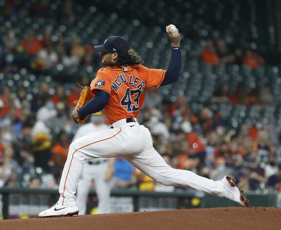 Houston Astros starting pitcher Lance McCullers Jr. (43) pitches during the first inning of an MLB baseball game at Minute Maid Park, in Houston, Friday, April 9, 2021. Photo: Karen Warren/Staff Photographer / @2021 Houston Chronicle