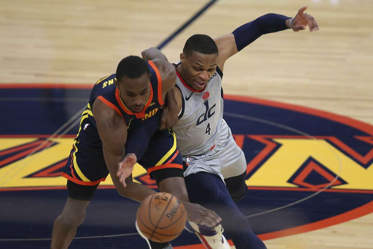 Washington Wizards guard Russell Westbrook, right, chases the ball against Golden State Warriors forward Andrew Wiggins during the first half of an NBA basketball game in San Francisco, Friday, April 9, 2021. (AP Photo/Jed Jacobsohn)