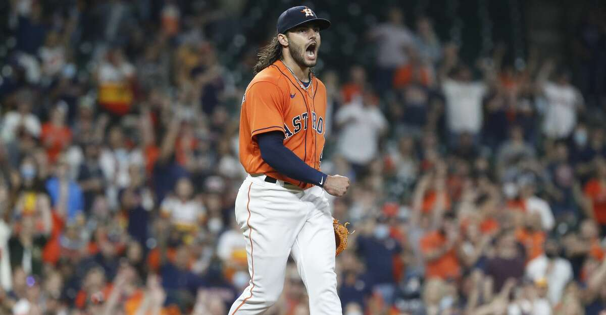 Houston Astros starting pitcher Lance McCullers Jr. (43) screams after striking out Oakland Athletics catcher Aramis Garcia to get out of the fourth inning of an MLB baseball game at Minute Maid Park, in Houston, Friday, April 9, 2021.