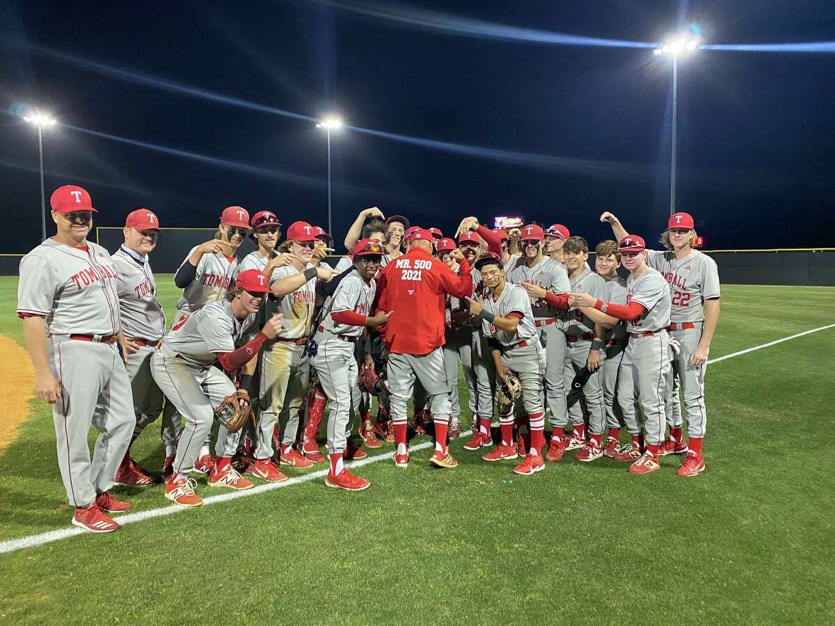 Tomball baseball coach Doug Rush earned his 500th career win in a 2-0 victory against Klein Oak Tuesday, April 6, at Tomball High School.