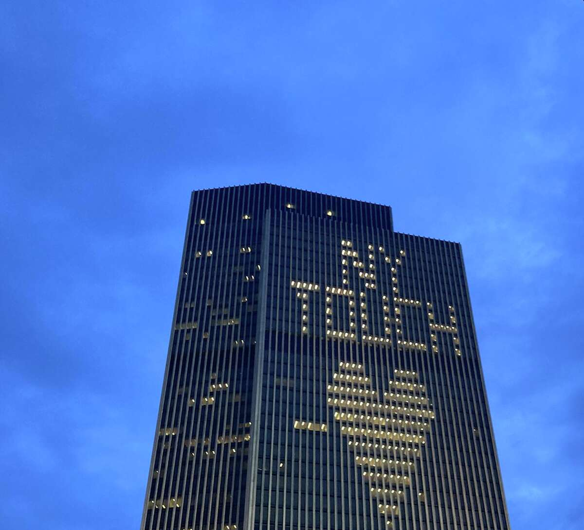 """A light display on the Corning Tower that normally reads """"NY TOUGH"""" instead read """"NY TOUCH"""" on Friday night."""