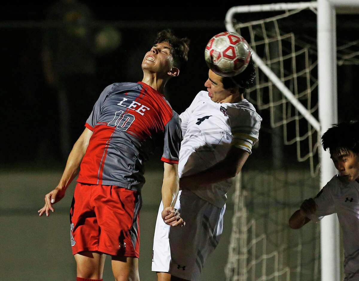 Lee Dante Valencia (10) tries to knock a corner kick into the net in the 2nd half. Region IV-6A boys soccer final between LEE and Austin Lake Travis on Friday, April 9, 2021 at Dripping Springs HS.