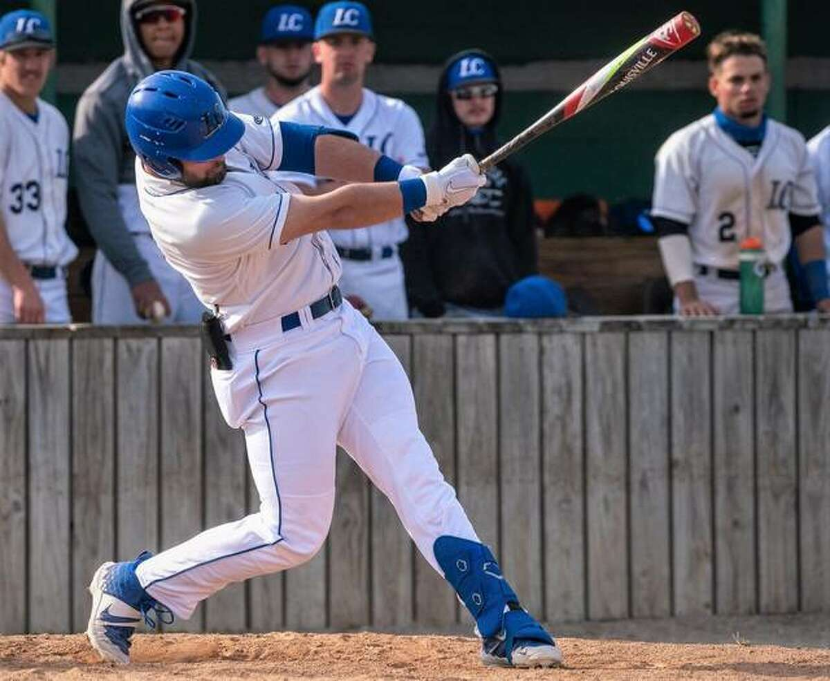 Lewis and Clark's Max Ringering hit a home run in his team's 10-9 victory over Heartland in the second game of a doubleheader Friday in Godfrey. The Trailblazers also won the first game 7-5.