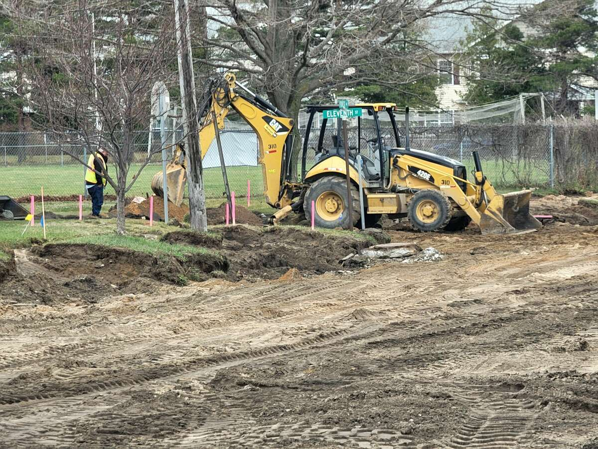 A portion of road and sidewalk by Lockhart Field where Forest Avenue (M-22) is being reconstruction in Frankfort also will be replaced.