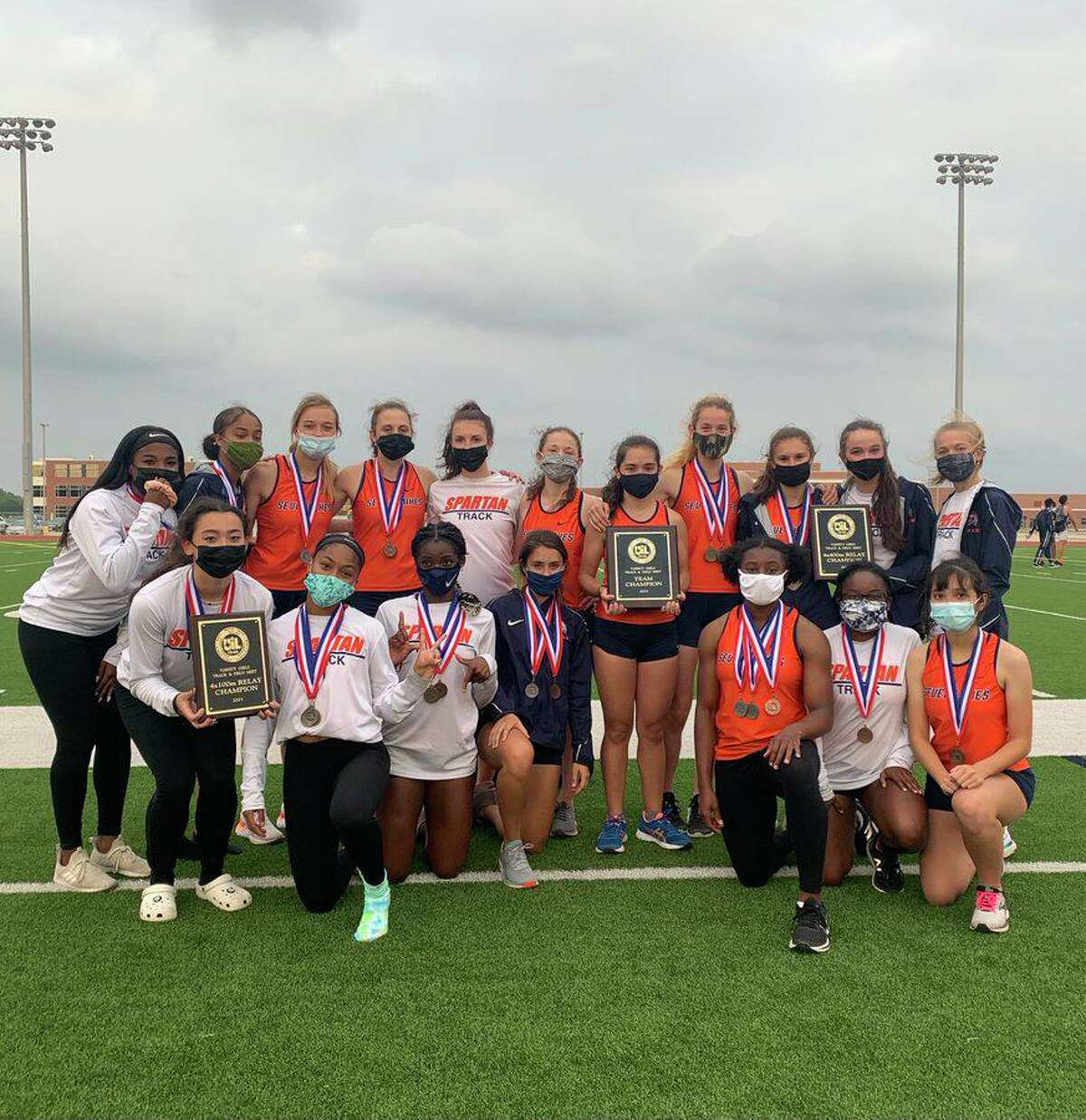 The Seven Lakes girls track and field team won the District 19-6A championship with 198 points. The Spartans won six events and qualified 12 athletes for the regional meet.
