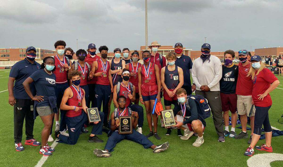 The Tompkins boys track and field team won the District 19-6A championship with 194 points, winning nine events and qualifying 13 athletes for the area meet.