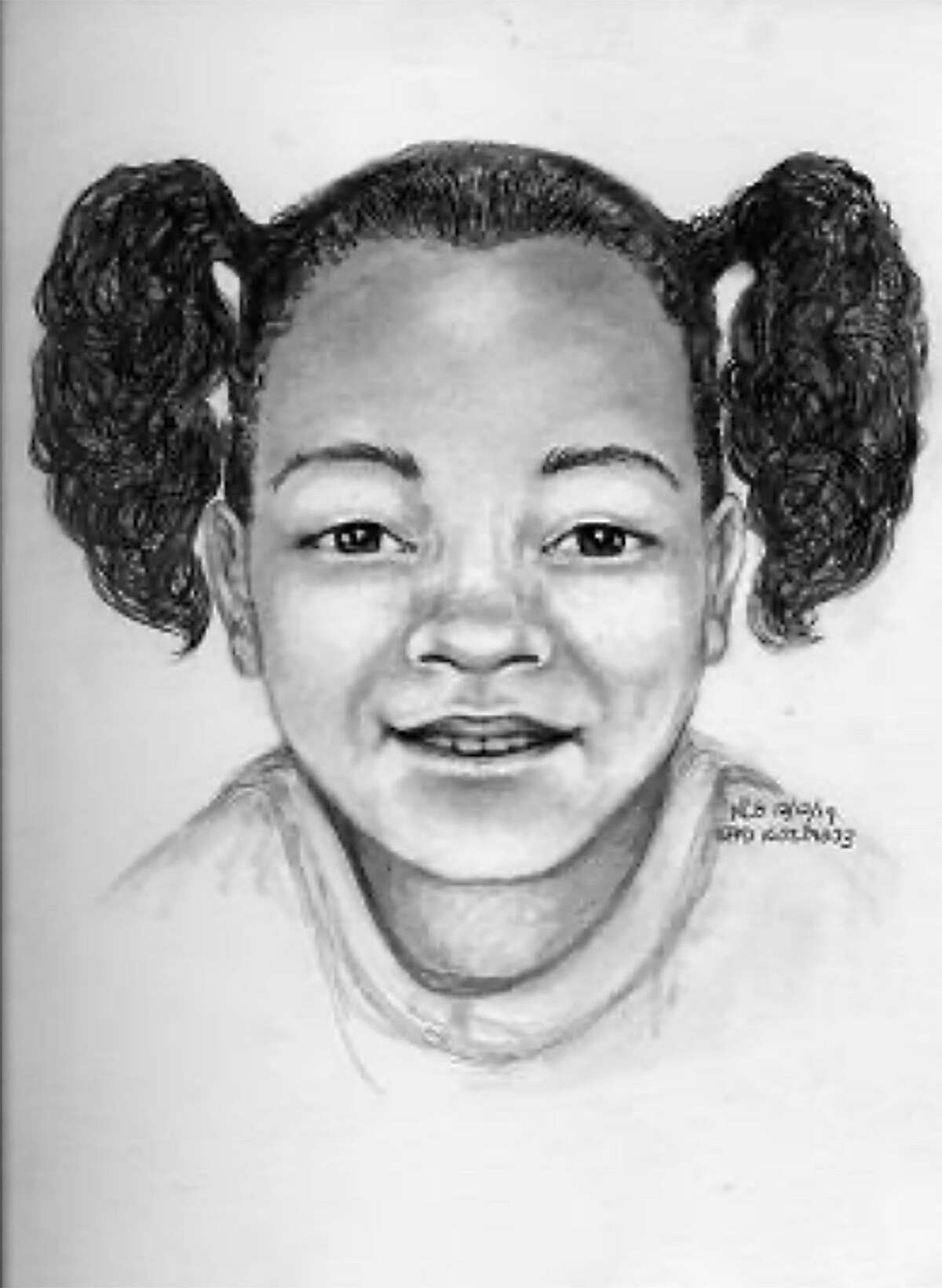 This forensic artist's sketch provided by the San Francisco Police Department shows what missing 7-year-old Arianna Fitts may look like in 2021.