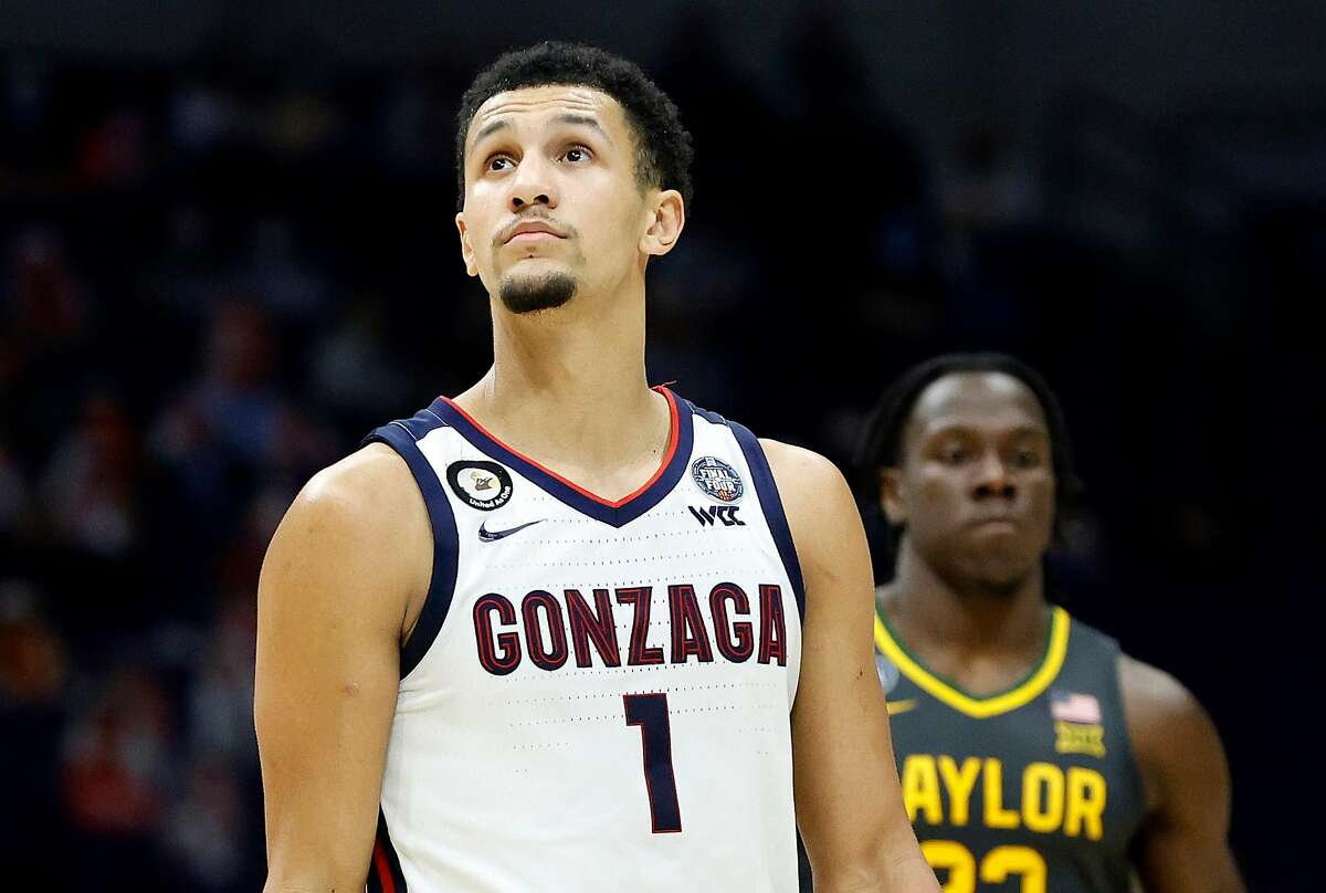 INDIANAPOLIS, INDIANA - APRIL 05: Jalen Suggs #1 of the Gonzaga Bulldogs looks on against the Baylor Bears in the National Championship game of the 2021 NCAA Men's Basketball Tournament at Lucas Oil Stadium on April 05, 2021 in Indianapolis, Indiana. (Photo by Tim Nwachukwu/Getty Images)