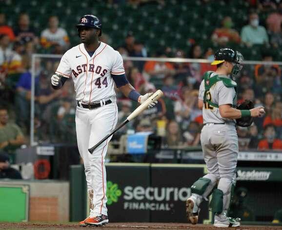 Houston Astros designated hitter Yordan Alvarez (44) strikes out during the first inning of an MLB baseball game at Minute Maid Park, in Houston, Saturday, April 10, 2021. Photo: Karen Warren, Staff Photographer / @2021 Houston Chronicle