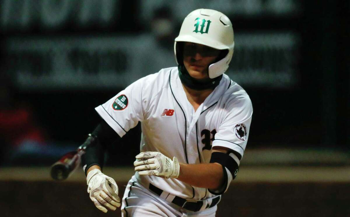 FILE - Justin Barry-Smith #7 of The Woodlands draws a walk during the sixth inning of a District 13-6A high school baseball game, Wednesday, March 17, 2021, in The Woodlands.