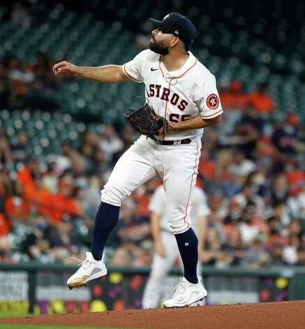 Houston Astros starting pitcher Jose Urquidy (65) pitches during the first inning of an MLB baseball game at Minute Maid Park, in Houston, Saturday, April 10, 2021. Photo: Karen Warren, Staff Photographer / @2021 Houston Chronicle
