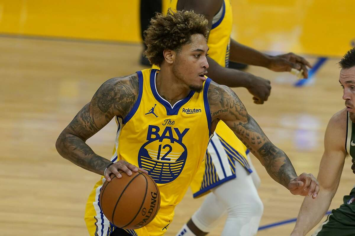 Golden State Warriors guard Kelly Oubre Jr. (12) during an NBA basketball game against the Milwaukee Bucks in San Francisco, Tuesday, April 6, 2021. (AP Photo/Jeff Chiu)