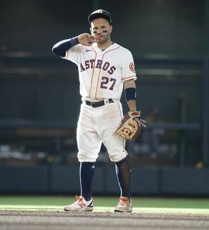 Houston Astros second baseman Jose Altuve (27) on the field during the ninth inning of an MLB baseball game at Minute Maid Park, in Houston, Saturday, April 10, 2021. Photo: Karen Warren/Staff Photographer / @2021 Houston Chronicle