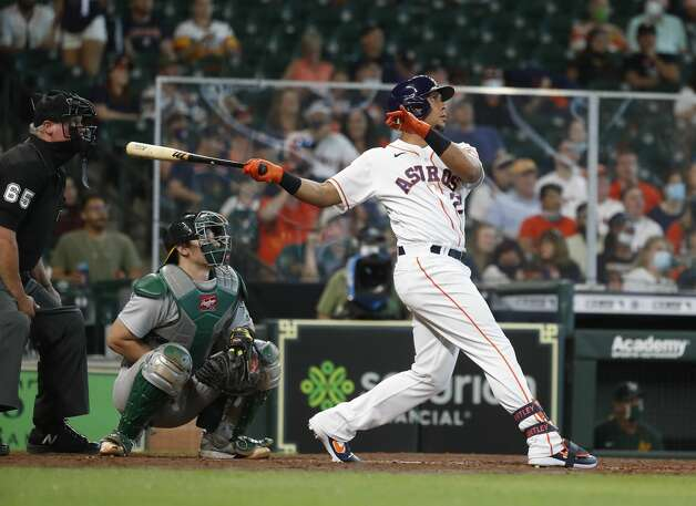 Houston Astros Michael Brantley (23) flies out during the fifth inning of an MLB baseball game at Minute Maid Park, in Houston, Saturday, April 10, 2021. Photo: Karen Warren/Staff Photographer / @2021 Houston Chronicle