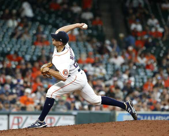 Houston Astros relief pitcher Brandon Bielak (64) pitches during the seventh inning of an MLB baseball game at Minute Maid Park, in Houston, Saturday, April 10, 2021. Photo: Karen Warren/Staff Photographer / @2021 Houston Chronicle