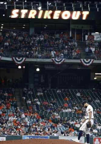 Houston Astros starting pitcher Jose Urquidy (65) after striking out Oakland Athletics Ka'ai Tom during the fifth inning of an MLB baseball game at Minute Maid Park, in Houston, Saturday, April 10, 2021. Photo: Karen Warren/Staff Photographer / @2021 Houston Chronicle