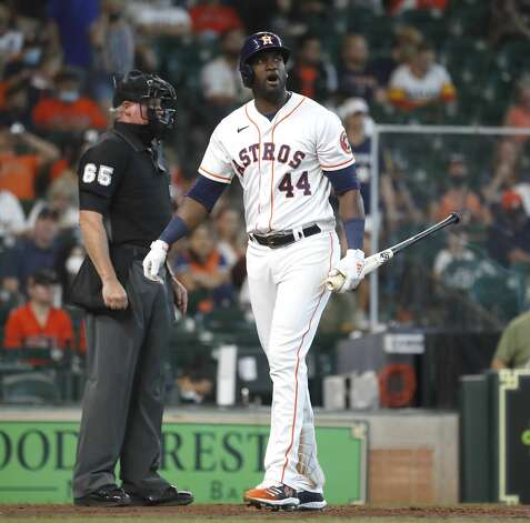 Houston Astros designated hitter Yordan Alvarez (44) reacts after striking out during the fourth inning of an MLB baseball game at Minute Maid Park, in Houston, Saturday, April 10, 2021. Photo: Karen Warren/Staff Photographer / @2021 Houston Chronicle
