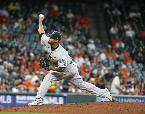 Oakland Athletics starting pitcher Frankie Montas (47) pitches during the fourth inning of an MLB baseball game at Minute Maid Park, in Houston, Saturday, April 10, 2021. Photo: Karen Warren/Staff Photographer / @2021 Houston Chronicle