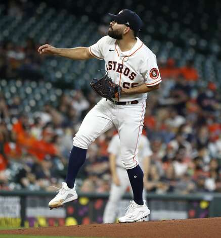 Houston Astros starting pitcher Jose Urquidy (65) pitches during the first inning of an MLB baseball game at Minute Maid Park, in Houston, Saturday, April 10, 2021. Photo: Karen Warren/Staff Photographer / @2021 Houston Chronicle
