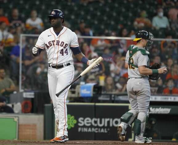 Houston Astros designated hitter Yordan Alvarez (44) strikes out during the first inning of an MLB baseball game at Minute Maid Park, in Houston, Saturday, April 10, 2021. Photo: Karen Warren/Staff Photographer / @2021 Houston Chronicle