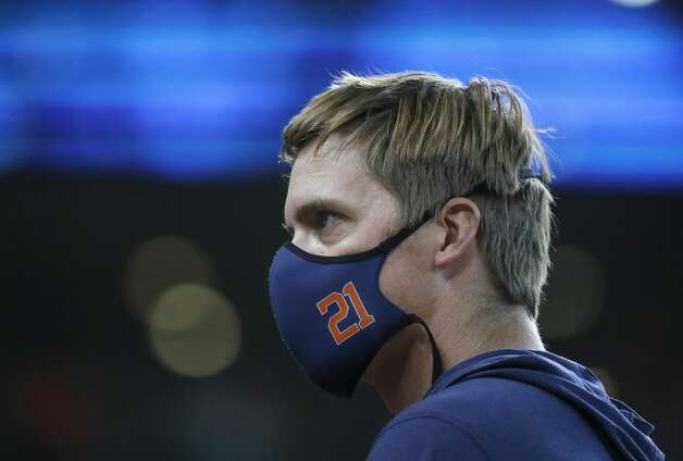 Houston Astros pitcher Zack Greinke (21) before the start of the first inning of an MLB baseball game at Minute Maid Park, in Houston, Saturday, April 10, 2021. Photo: Karen Warren/Staff Photographer / @2021 Houston Chronicle