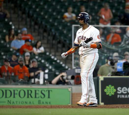 Houston Astros catcher Martin Maldonado (15) reacts as he struck out to end the ninth inning of an MLB baseball game at Minute Maid Park, in Houston, Saturday, April 10, 2021. Photo: Karen Warren/Staff Photographer / @2021 Houston Chronicle