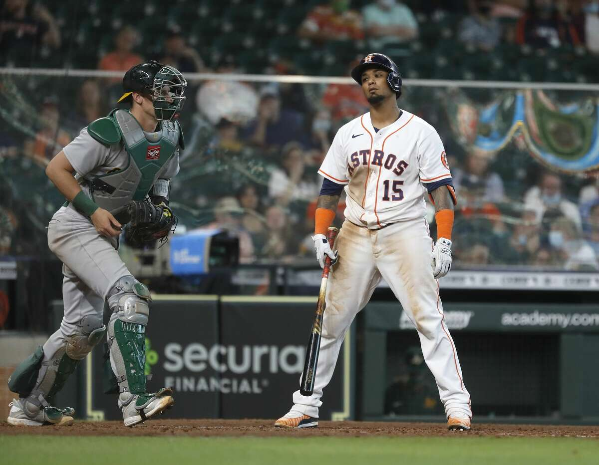 Houston Astros catcher Martin Maldonado (15) reacts as he struck out to end the ninth inning of an MLB baseball game at Minute Maid Park, in Houston, Saturday, April 10, 2021.