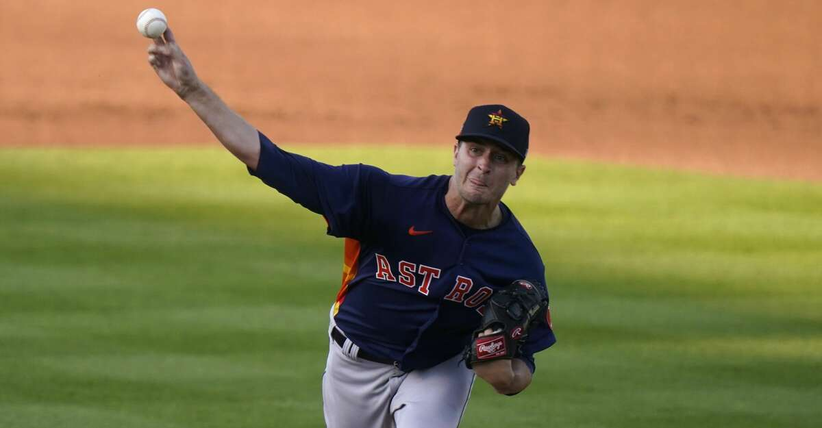Houston Astros starting pitcher Jake Odorizzi throws during the first inning of a spring training baseball game against the Washington Nationals, Wednesday, March 24, 2021, in West Palm Beach, Fla. (AP Photo/Lynne Sladky)