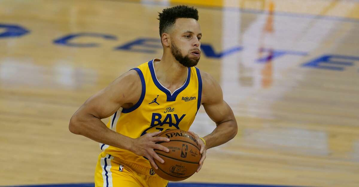 Golden State Warriors guard Stephen Curry against the Milwaukee Bucks during an NBA basketball game in San Francisco, Tuesday, April 6, 2021. (AP Photo/Jeff Chiu)
