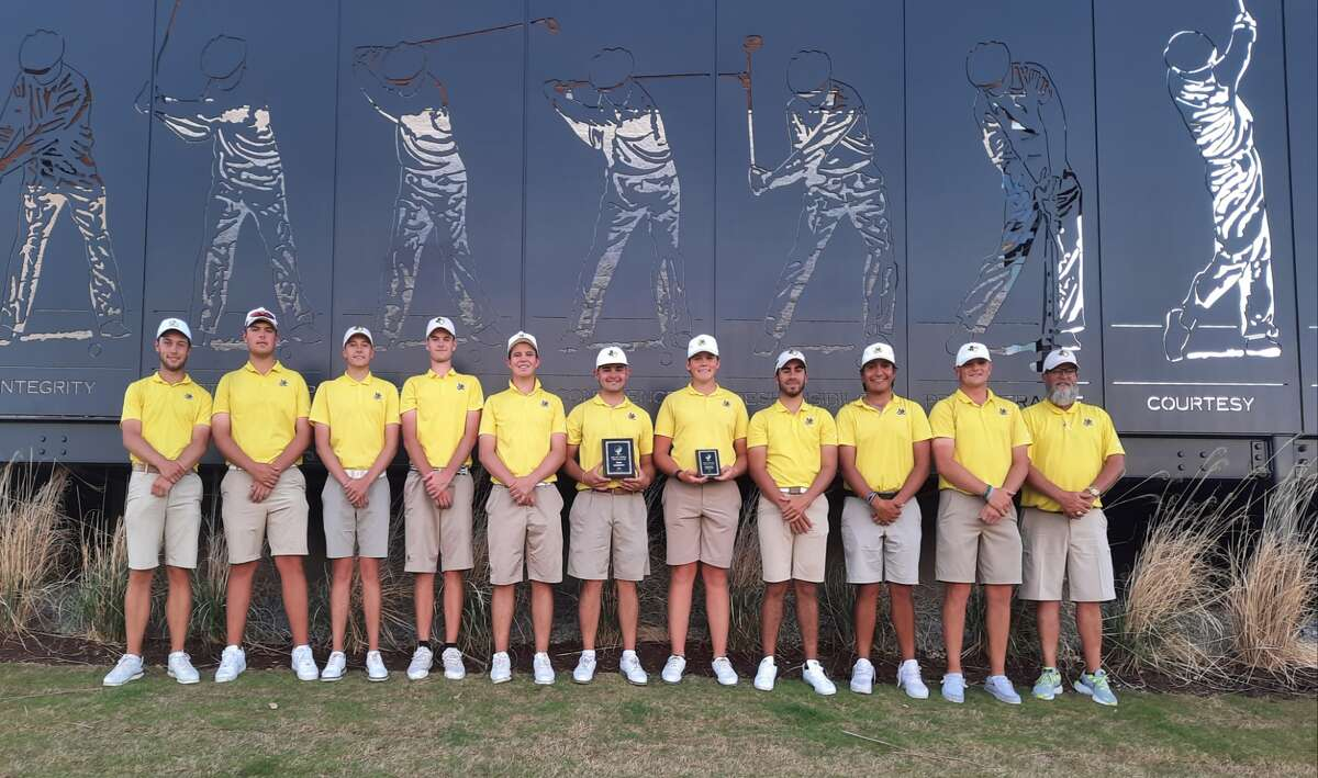The Midland College golf team poses with its awards after winning the Texas JuCo Triangular tournament on April 9.
