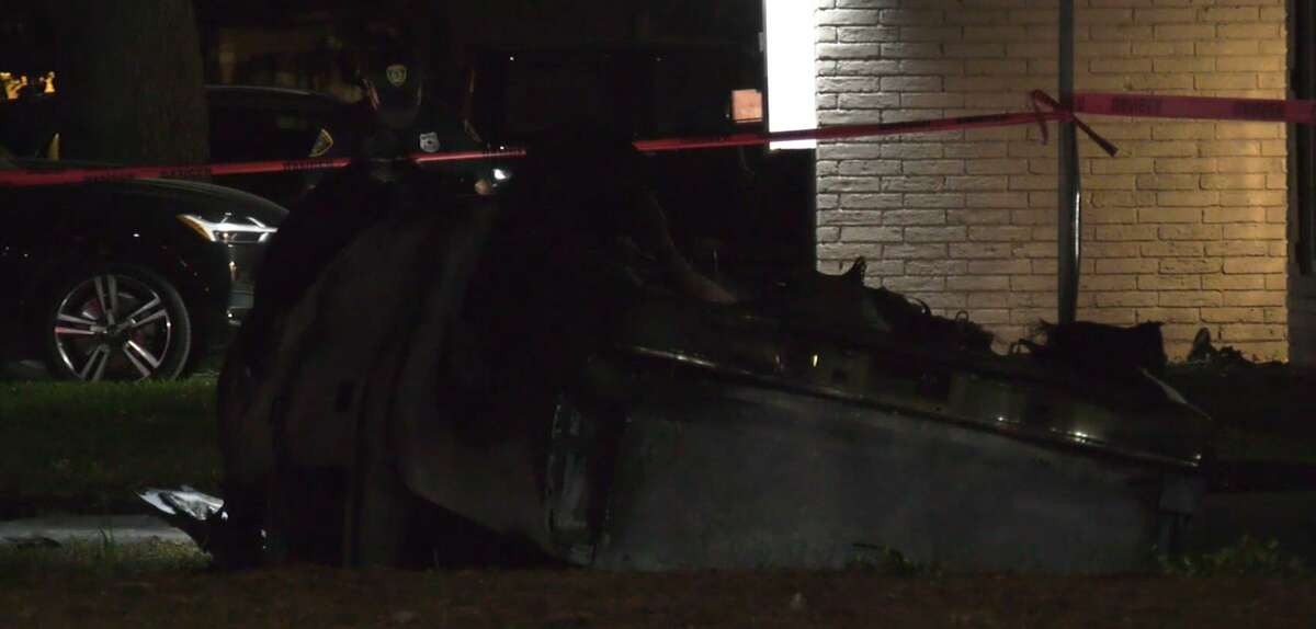 Houston police investigate a fatal single-vehicle crash.