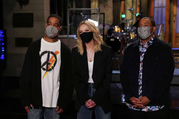 """From left, musical guest Kid Cudi, host Carey Mulligan and cast member Kenan Thompson appear in a promotional image for """"Saturday Night Live."""""""
