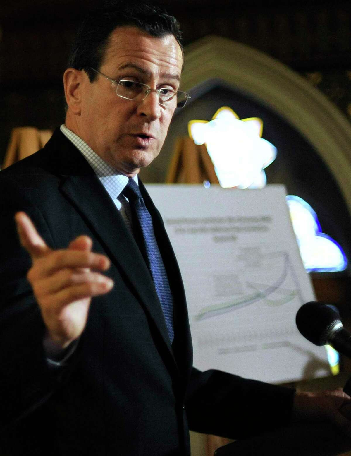 Former Connecticut Gov. Dannel P. Malloy speaks at the Capitol in Hartford in 2012.