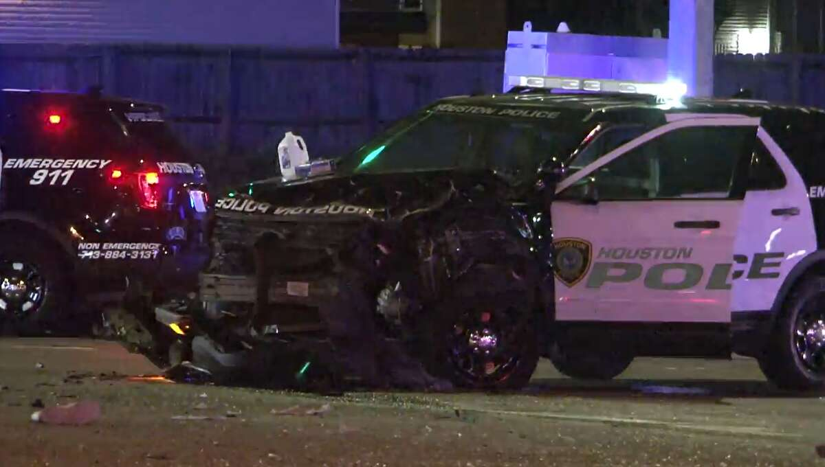 A possibly drunken driver crashed into a HPD officer around midnight on April 11, 2021, in southwest Houston.
