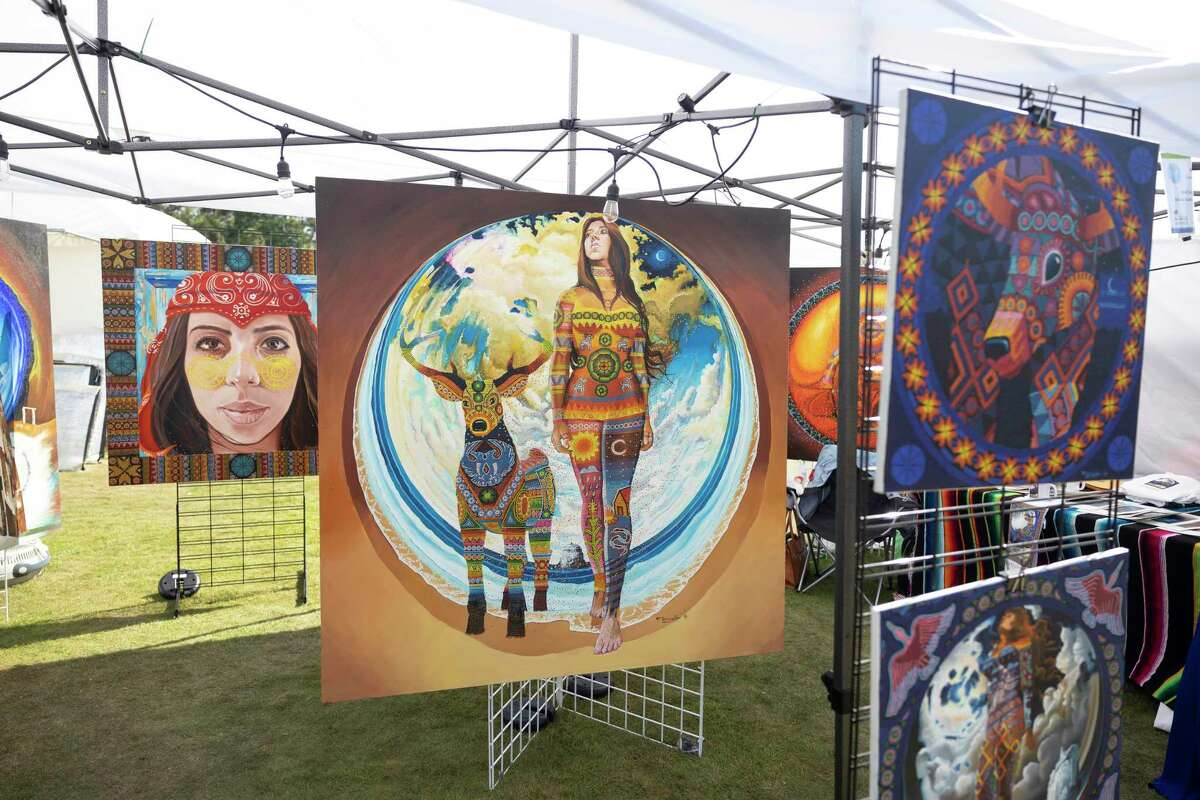 Artwork from Florencio Zavala is seen during The Woodlands Waterway Arts Festival, Saturday, April 10, 2021, in The Woodlands. The festival was held virtually last year due to the COVID-19 pandemic but was held in-person this year.