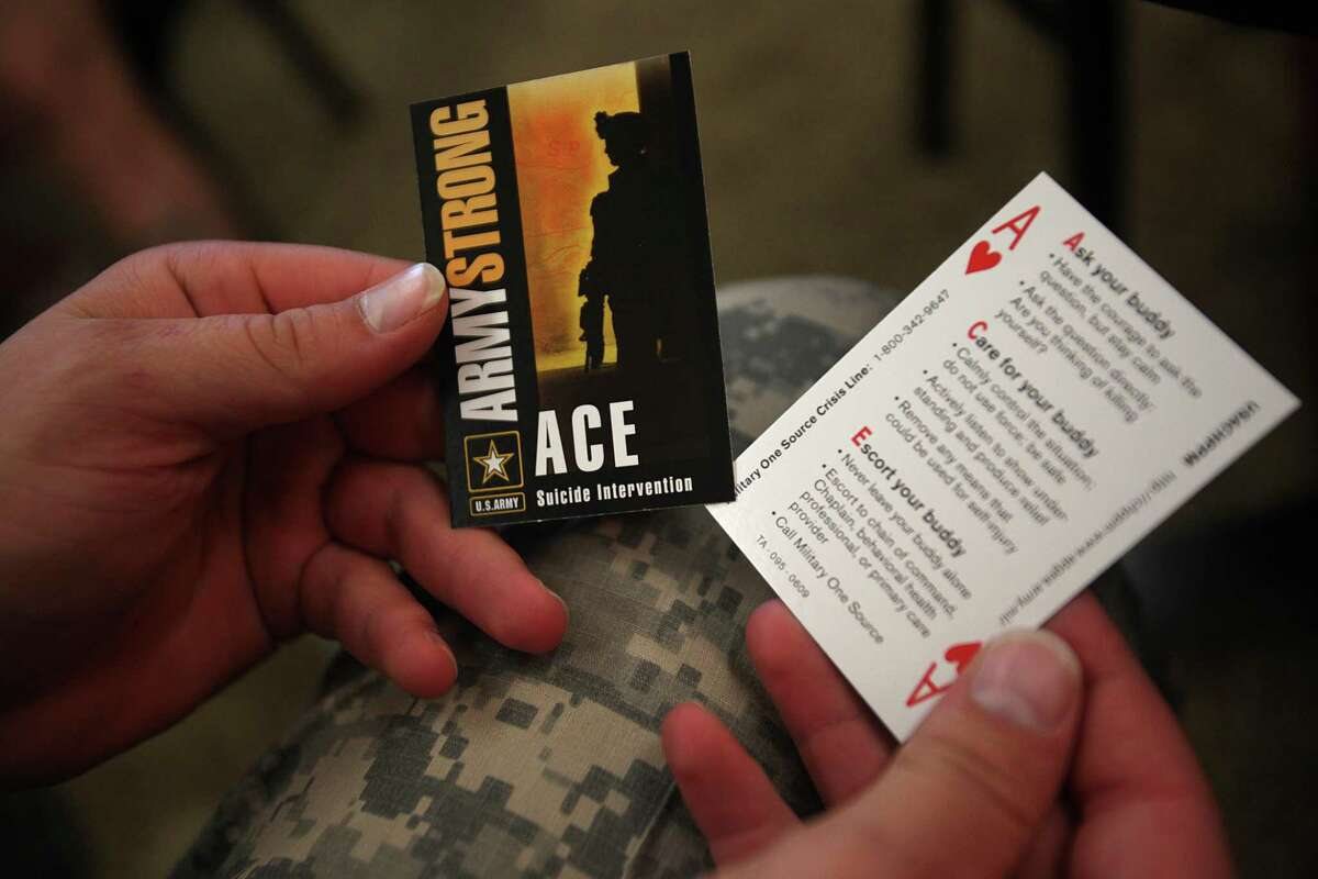 ACE suicide intervention cards seen at a training session at Fort Hood in 2010. ACE stands for