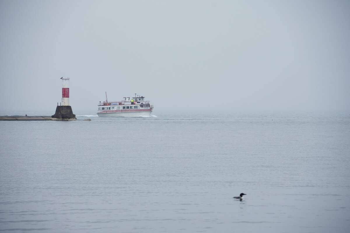 The Princess of Ludington made its way past the First Street Beach lighthouse and through the Manistee River Channel on Friday while a loon swam in the foreground.
