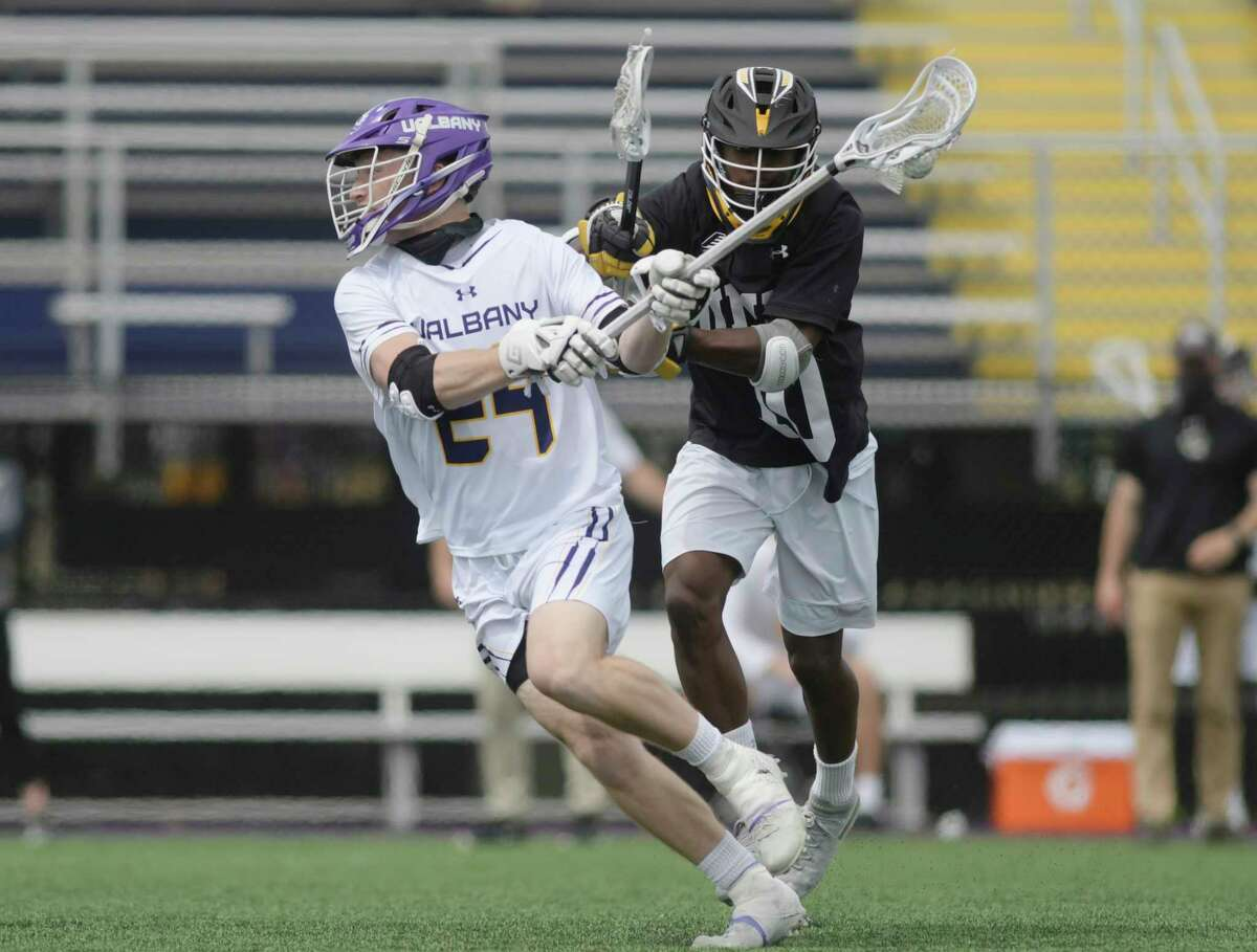 UAlbany's Alex Burgmaster looks to take a shot on goal during their game against UMBC on Sunday, April 11, 2021. They will meet again on Thursday in the America East semifinals. (Paul Buckowski/Times Union)