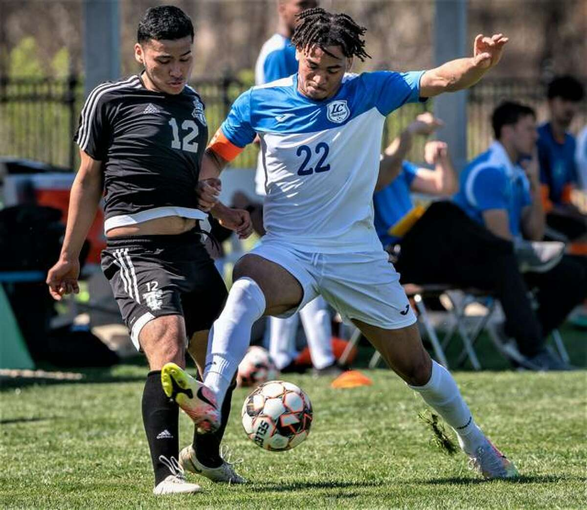Spencer Barber of Lewis and Clark (22) scored a pair of first-half goals to help the Trailblazers knock off rival Southwestern Illinois College 5-0 Sunday at Belleville Althoff High School.