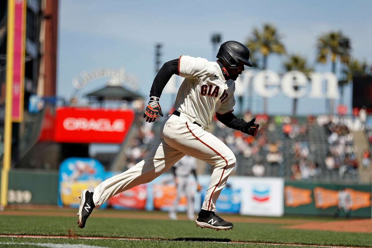 San Francisco Giants' LaMonte Wade, Jr. doubles against Colorado Rockies in 5th inning during MLB game at Oracle Park in San Francisco, Calif., on Sunday, April 11, 2021.