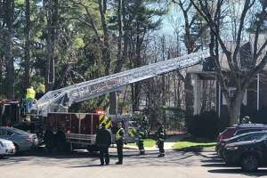 Units on scene for a fire in Rocky Hill Conn., on Friday, April 9, 2021.