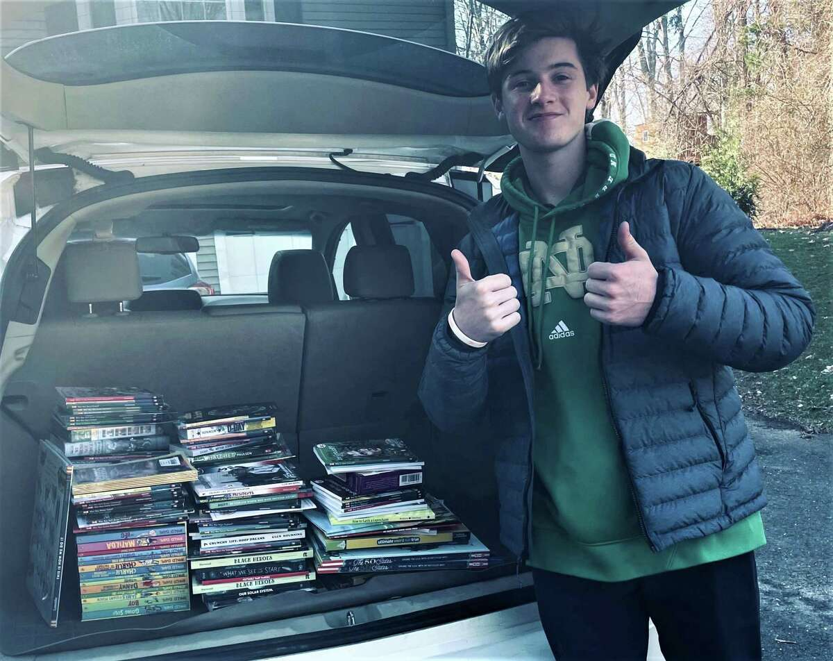 Trevor Knotwell of Milford, a student at Notre Dame High School in West Haven, recently collected and donated more than 225 books to Boys and Girls Village of Milford.